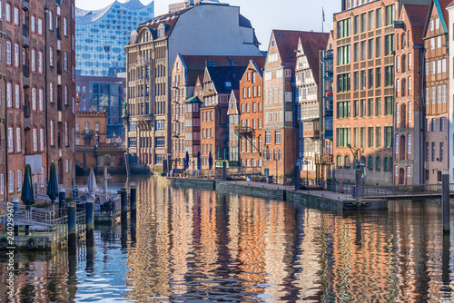 The Nikolaifleet, a canal in the old town (Altstadt) of Hamburg, Germany. It is considered one of the oldest parts of the Port of Hamburg.