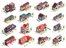 Suburbian Buildings Isometric Set