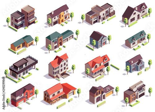 Vászonkép Suburbian Buildings Isometric Set