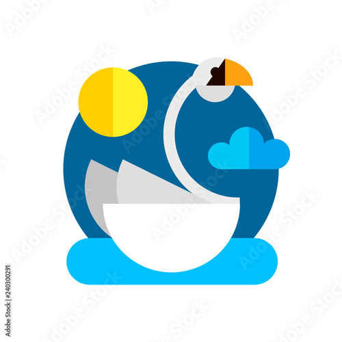 Swan floating in the water in the style of flat. Vector