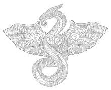 Adult Coloring Book Art With Snake And Wings