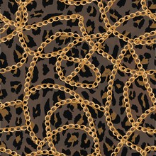 Seamless Pattern With Gold Chain On Lepard Skin , Belt And Pearls.vector Illustration.