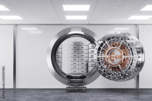 Photo  Bank vault door in premise bank. Safety concept. 3d