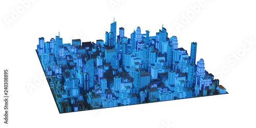 Keuken foto achterwand Stad gebouw the layout of the city at night 3d rendering