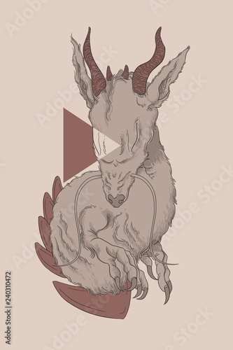 Fototapeta Dragon torso illustration