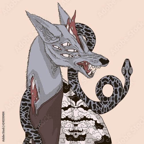 Fotografie, Obraz Wolf monster with snake