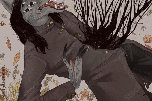 Fotografie, Obraz Wolf monster, fallen leaves on the background