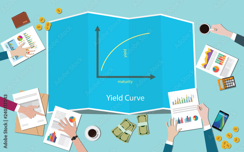 Fototapeta yield curve with team working together on the table vector