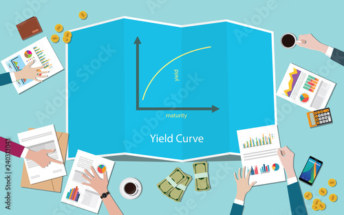 Obraz yield curve with team working together on the table vector - fototapety do salonu