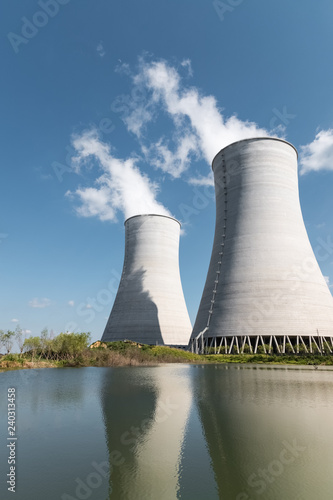 closeup of cooling towers