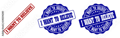 I WANT TO BELIEVE grunge stamp seals in red and blue colors фототапет