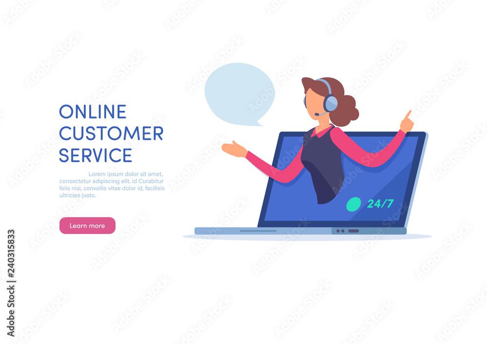 Fototapeta Call center agent support online customer service on website.
