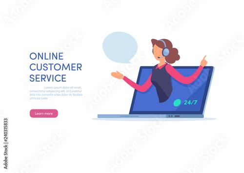 Call center agent support online customer service on website. Fototapet
