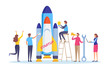 Startup the project. Boost your business concept. Business people's launch the rocket. Flat cartoon miniature illustration vector graphic on white background.