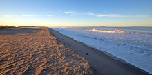 Surfers Knoll Beach With Tidal Erosion At Ventura California United States