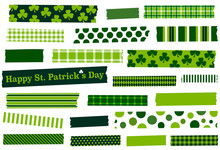 St. Patrick's Day Washi Tape Vector Illustration. Green Masking Tape Strips. Design Element For Frames, Borders, Scrapbooking, Craft Supplies And Decoration. Semi-transparent.