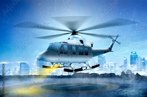 Türaufkleber Hubschrauber Small helicopter landing on the helipad