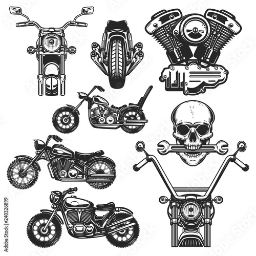 Cuadros en Lienzo Set of motorcycle design elements