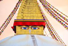 Wisdom Eyes Of Bouddhanath Stupa In Kathmandu, Nepal