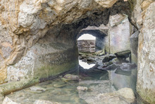 Ruins Of An Underground Tunnel In Sutro Baths. San Francisco, California, USA.