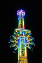 Colorful Rides At Night At California's San Diego County Fair