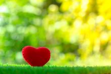 Red Heart Shape On Green Grass...