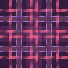 Pink, Purple Lumberjack - Tartan Plaid Cloth, Seamless Texture. Checkered Scottish Pattern. Vector Background
