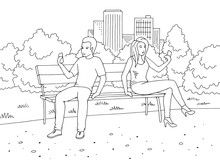 Man And Woman Sitting On A Bench And Looking At The Phone Park Graphic Black White Landscape Sketch Illustration Vector