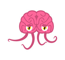 Brain With Tentacles. Monster ...