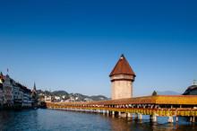 Lucerne Chapel Bridge In Bright Evening, Switzerland