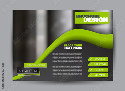 Fototapeta Flyer, brochure, billboard template design landscape orientation for business, education, school, presentation, website. Black and green color. Editable vector illustration. obraz