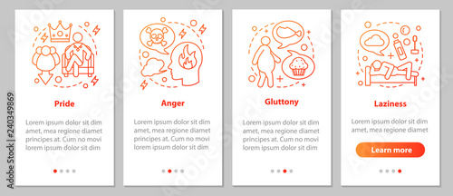 Fotografie, Obraz Deadly sins onboarding mobile app page screen with linear concep