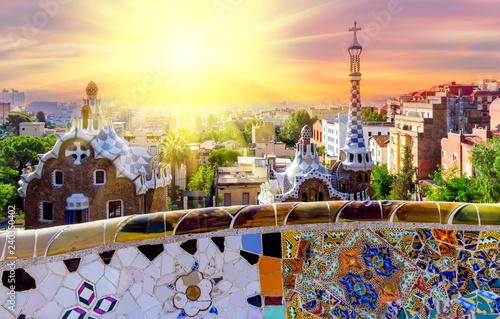 Garden Poster Barcelona Spring sunset Barcelona Gaudi bench mosaic