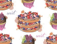 Seamless Pattern With Sweets. Cupcakes And Cakes Isolated On White Background. Can Use For Birthday Card, The Children's Menu, Packaging, Textiles, Fabrics, Wallpaper.