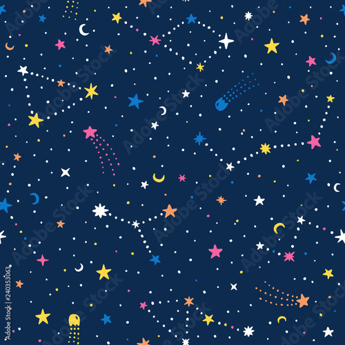 Photo Vector hand drawn night sky doodle seamless pattern with space stars, planets, comets
