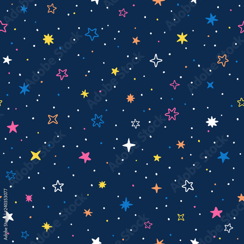 Vector hand drawn night sky doodle seamless pattern with space stars, planets, comets Canvas Print