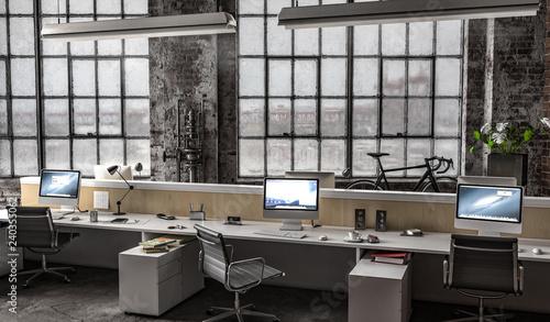 Photo  Großraumbüro in Industriehalle mit mehreren Arbeitsplätzen am Tag