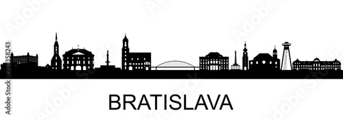 Bratislava Silhouette Canvas Print