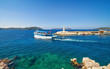 Sightseeing ship carries tourists on tour from Kas, Turkey to Greece.