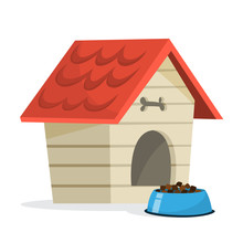 Empty Dog Kennel With Red Wooden Roof