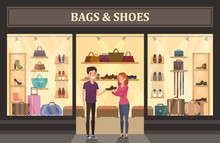 Bags And Shoes Shop With Glassware Showcase.