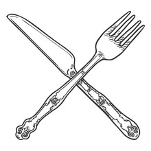 Vector Sketch Crossed Cutlery....