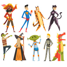 People In Carnival Costumes Set, Funny Persons Dressed As A Pirate, Magician, Tigress, Superman, Dinosaur, Alien, Zombie, Skeleton Vector Illustration On A White Background