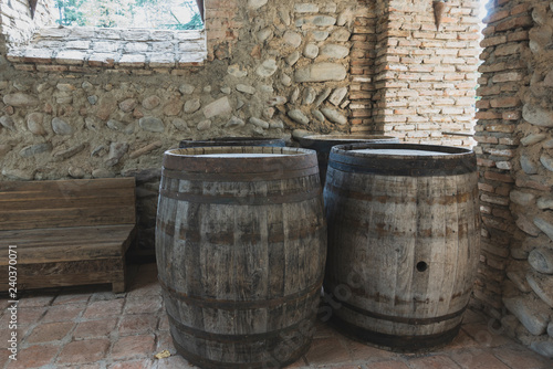 Old wooden wine barrels