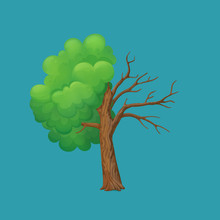 Cartoon Tree Split In Half Isolated On A Blue Background. Part With Lush Green Leaves And Dry, Leafless Part.