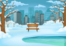 Winter Day Illustration. Snow Covered Wooden Bench By The Frozen Lake With Leafless Trees And Cityscape.
