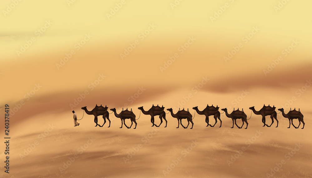 Fototapety, obrazy: The landscape of the east, the desert, a caravan with camels on the sands. The element of sand storm.