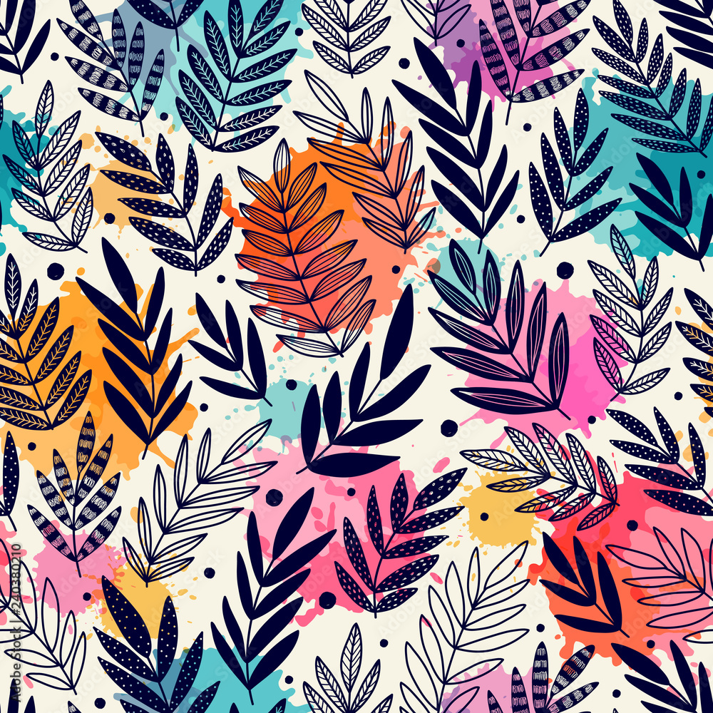 Fototapety, obrazy: Seamless pattern with branches. Can be used on packaging paper, fabric, background for different images, etc.