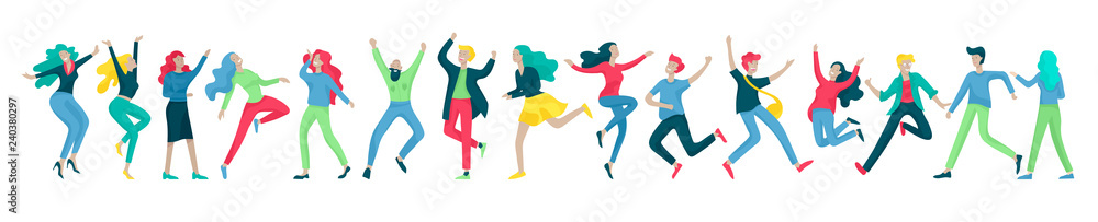 Fototapety, obrazy: Jumping character in various poses. Group of young joyful laughing people jumping with raised hands. Happy positive young men and women rejoicing together, happiness, freedom, motion people concept.