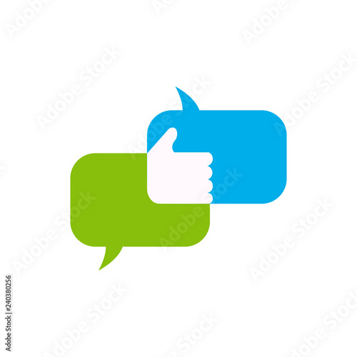 Message bubbles with thumds up vector icons for chat  Vector